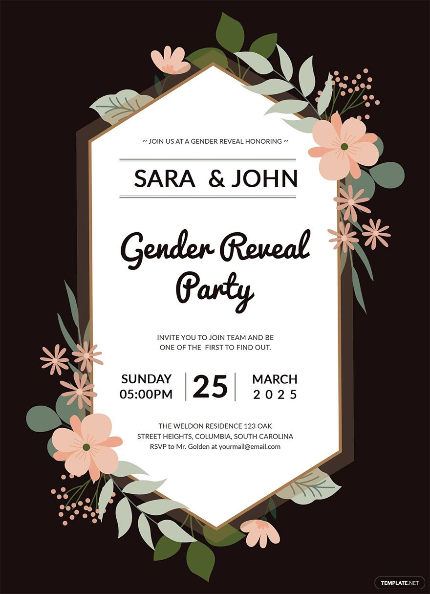 Gender Reveal Party Invitation Template Free Jpg Illustrator Word Outlook Apple Pages Psd Publisher Template Net Gender Reveal Party Invitations Party Invite Template Party Invitations