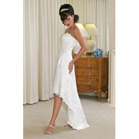 A-Line Strapless Natural Waist Tea Length Zippered Back summer beach wedding dresses