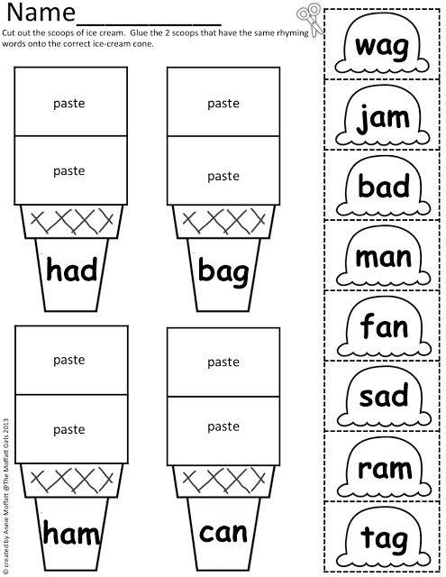 CVC Scoops! Color, cut and paste 165 simple CVC words