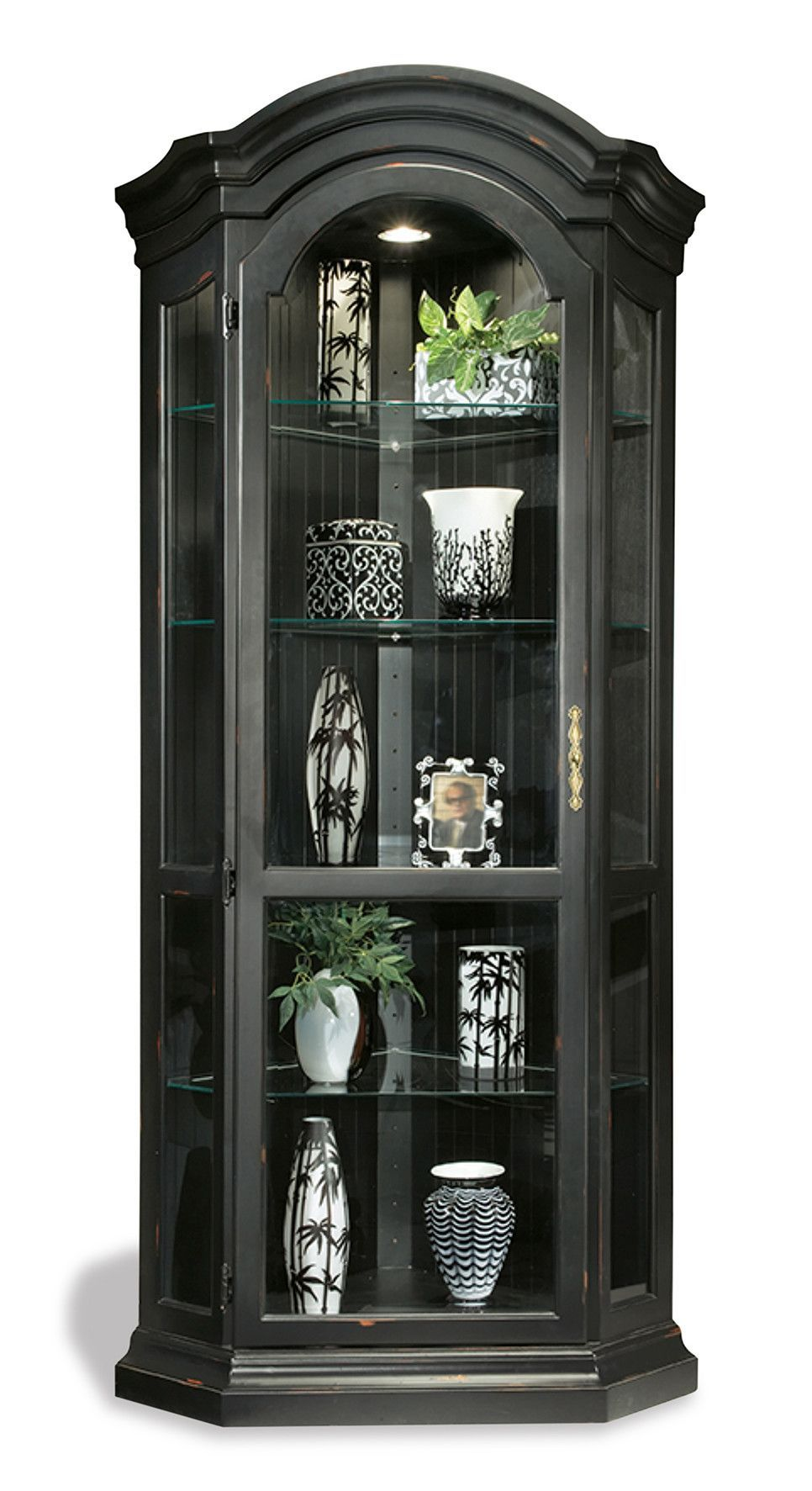 Features Adjustable Glass Shelves With Plate Grooves Carved Bonnet Top Cornice Halogen Lig Curio Cabinet Makeover Corner Display Cabinet Curio Cabinet