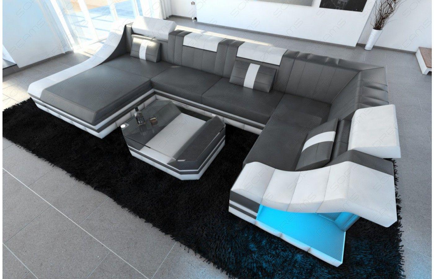 Moderne Wohnlandschaft Turino U Form Mit Led Beleuchtung Ecksofas Sofa Design Wohnen