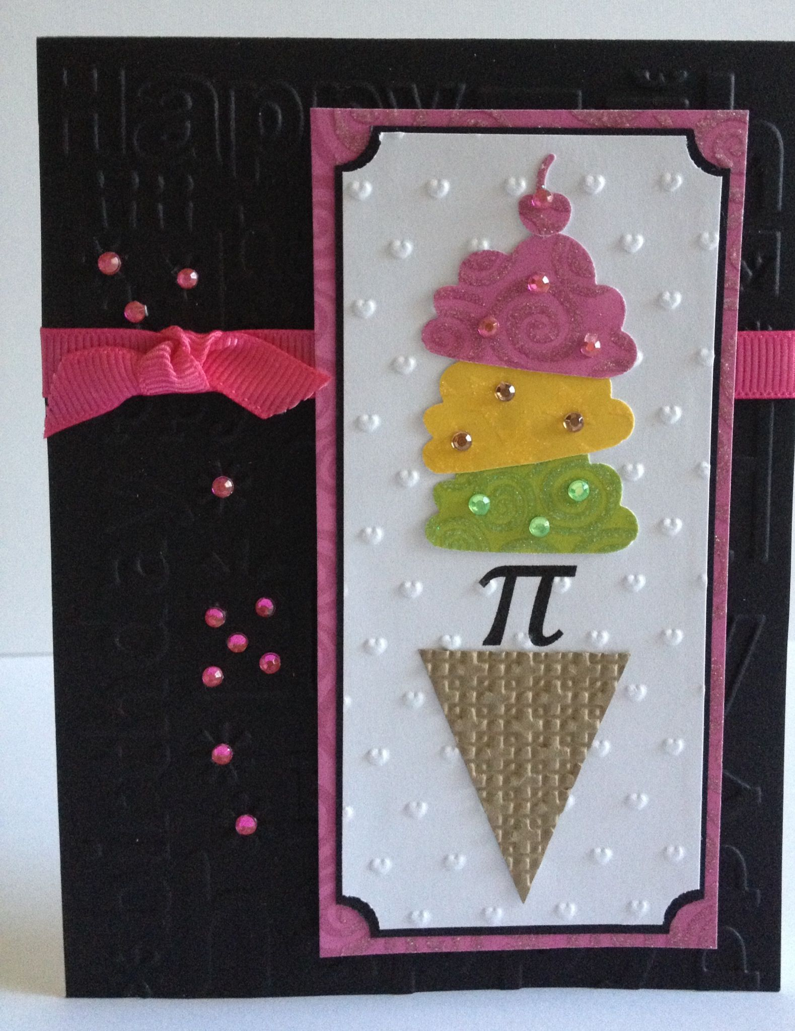 Birthday Card For Your Favorite Math Teacher A Little Pi And Ice Cream Or Pi A La Mode Greeting Cards Design Inspiration Card Making Greeting Card Design