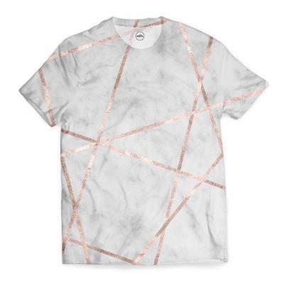 White Marble Rose Gold Geo Glam 2 Geo Decor Art T