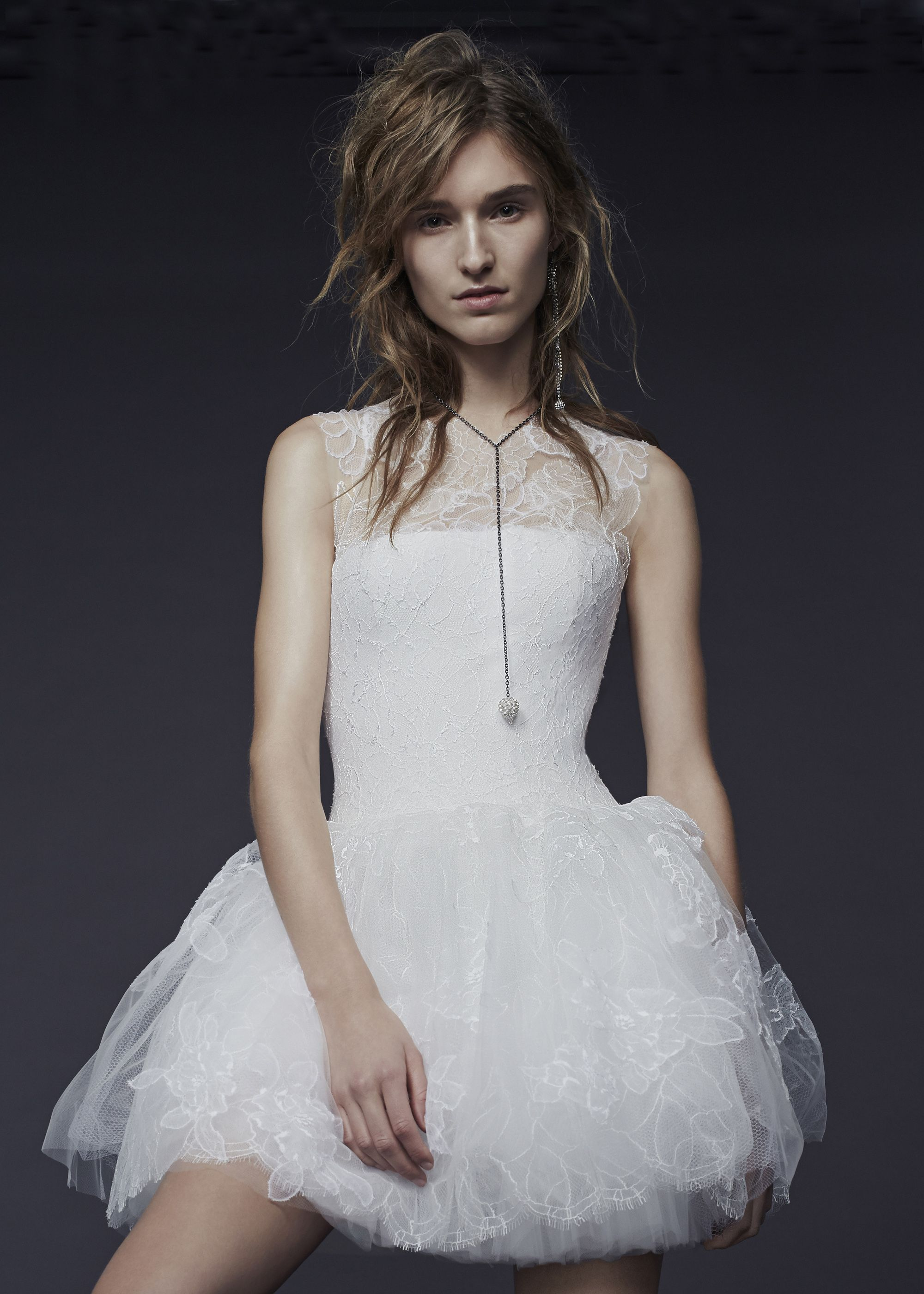 Vera wang lace wedding dress  Playful short wedding dress  Vera Wang Fall  Bridal Collection