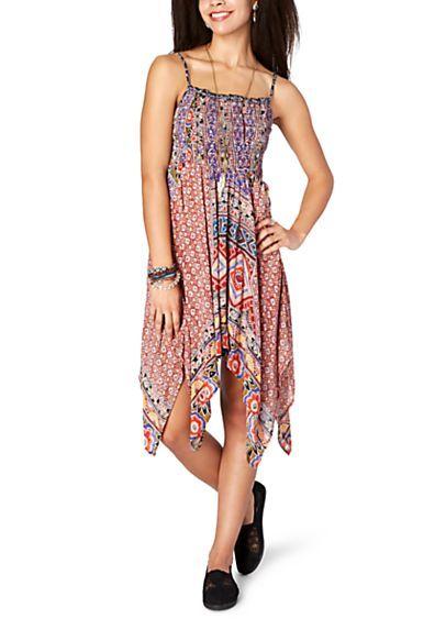 image of Brown Gypsy Handkerchief Hem Dress