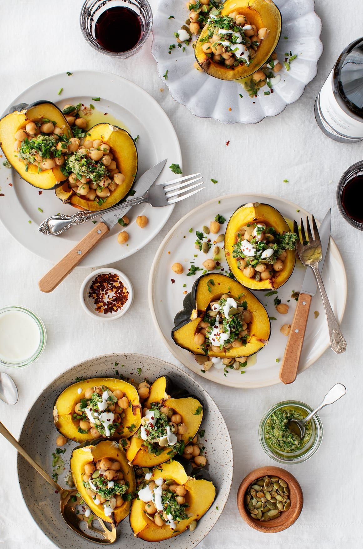 Acorn Squash With Chickpeas Chimichurri Recipe Vegetarian