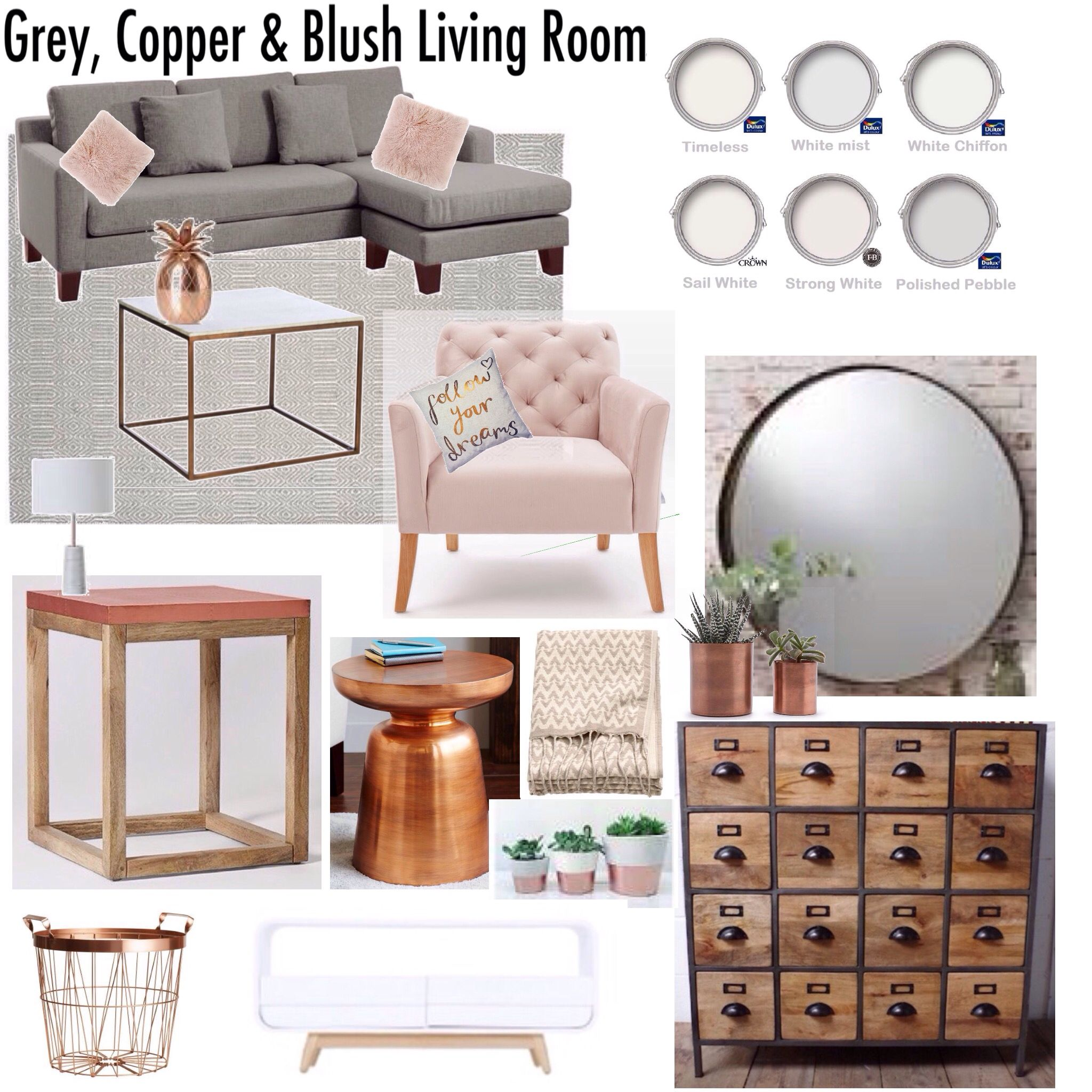 Gray Copper Blush Living Room Decor Mood Board