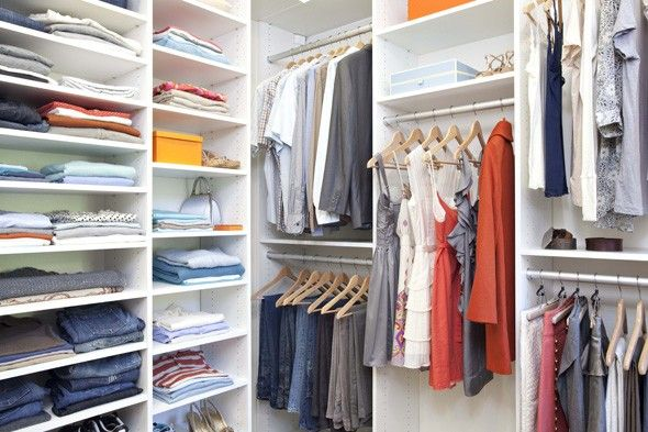 Do it yourself bedroom closets get organized with fiberboard shelving systems