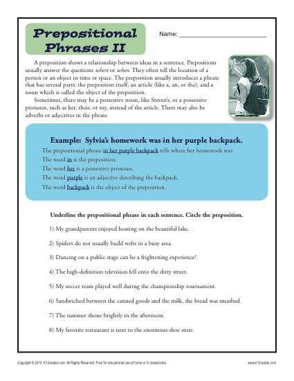 Preposition Worksheet - Prepositional Phrases | Prepositional ...