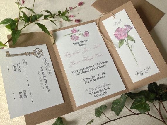 Hand Painted Secret Garden Wedding Invitation By Bottleandcork