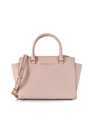 5663b4227c3 Michael Kors Selma Blossom Pink Saffiano Leather Medium Top Zip Satchel