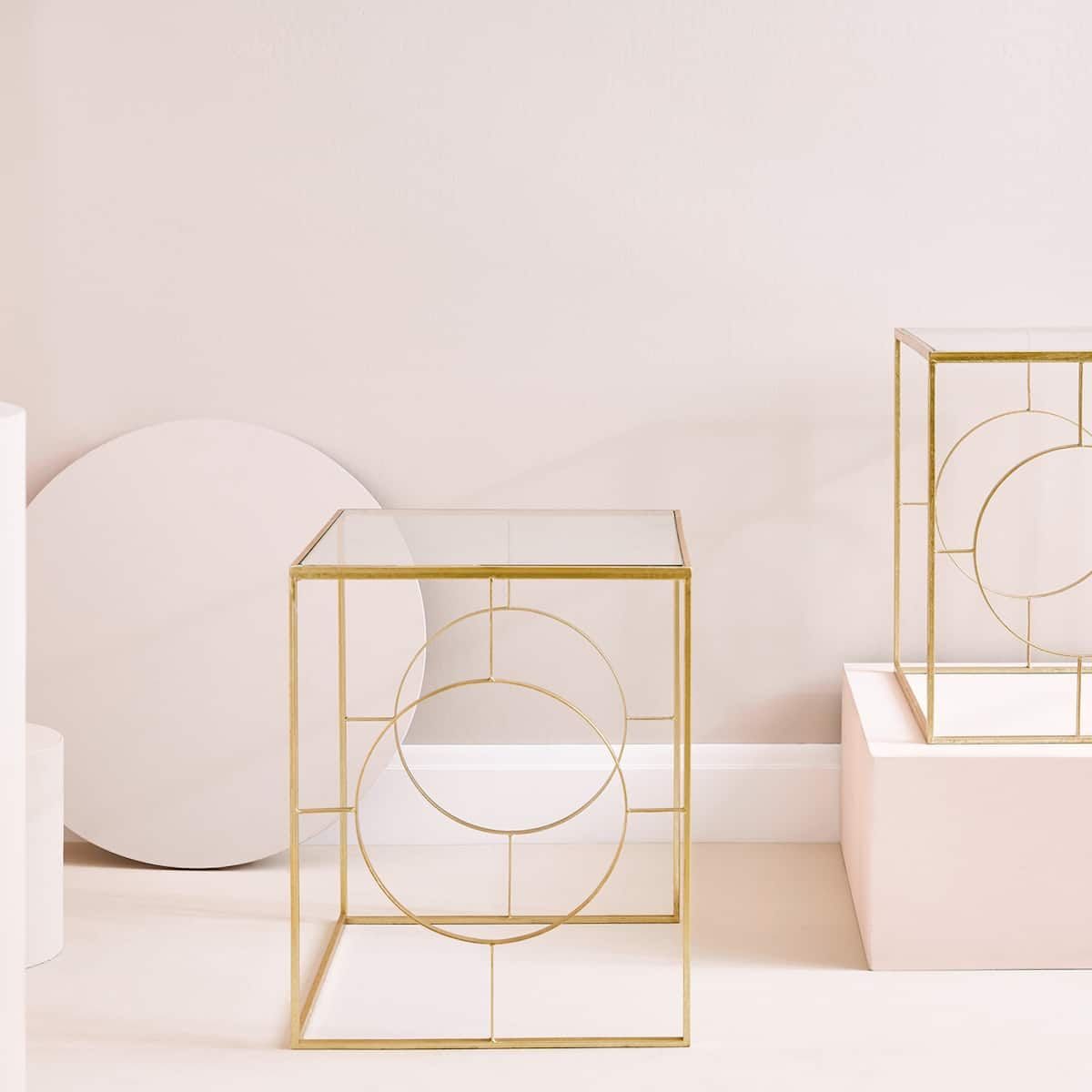 Table Carree Cercles Lateraux Meubles Decoration Zara Home France Zara Home Furniture Gold Table Setting