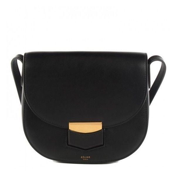 384d36c6de5d CELINE Palmelato Calfskin Small Trotteur Black ❤ liked on Polyvore  featuring bags