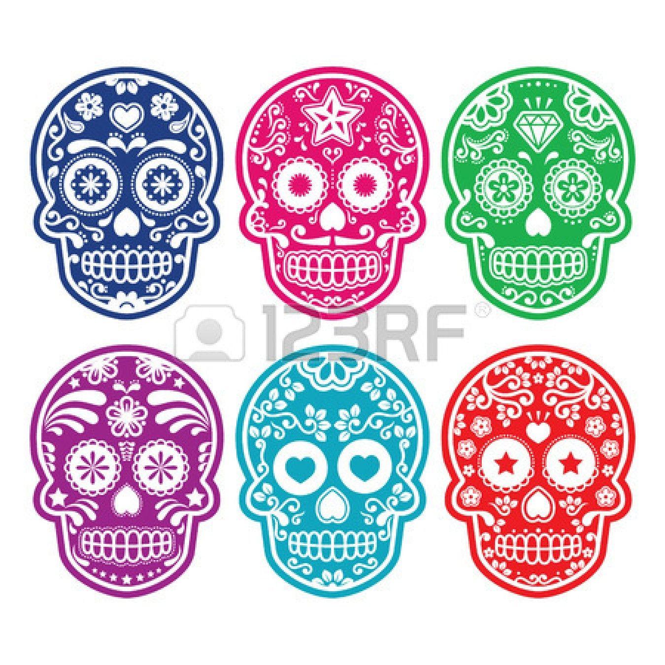 27484851-mexican-sugar-skull-dia-de-los-muertos-colorful-icons-set ...