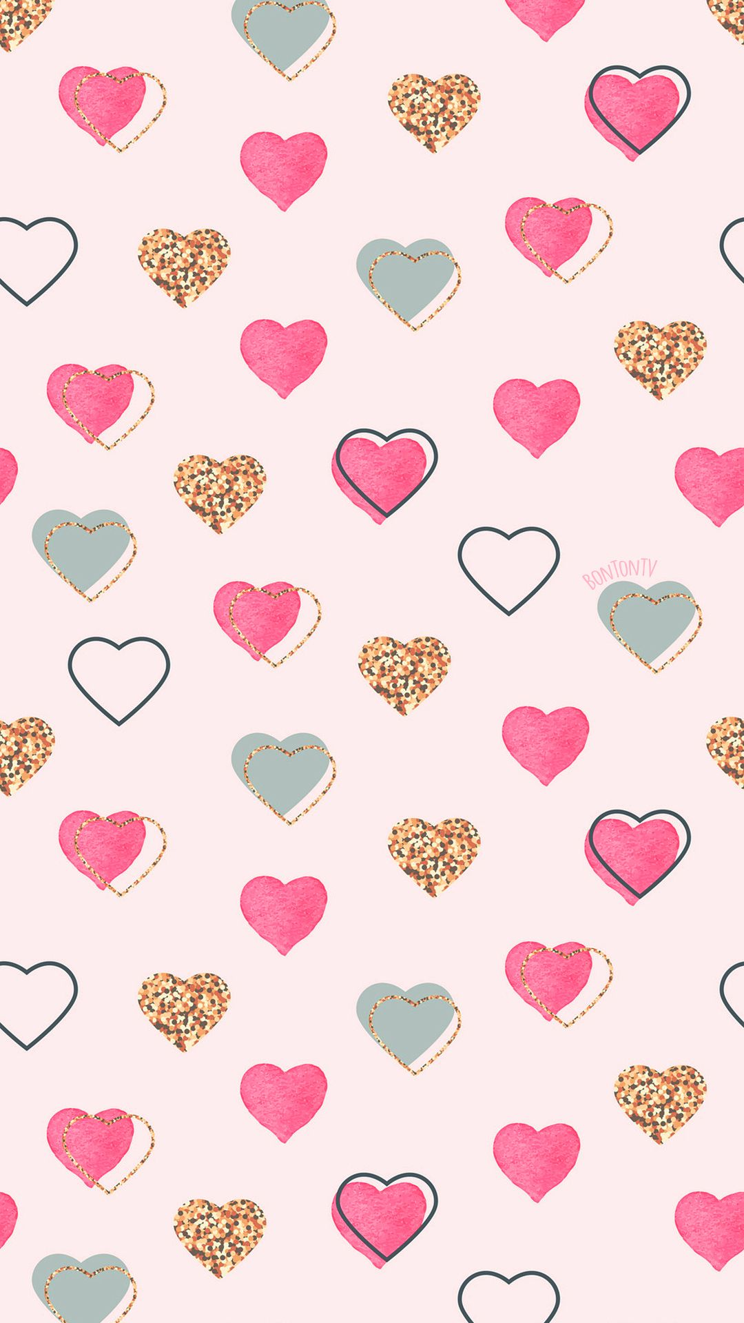Phone Wallpapers Hd Pink Gold Pastel Hearts By Bonton Tv Free