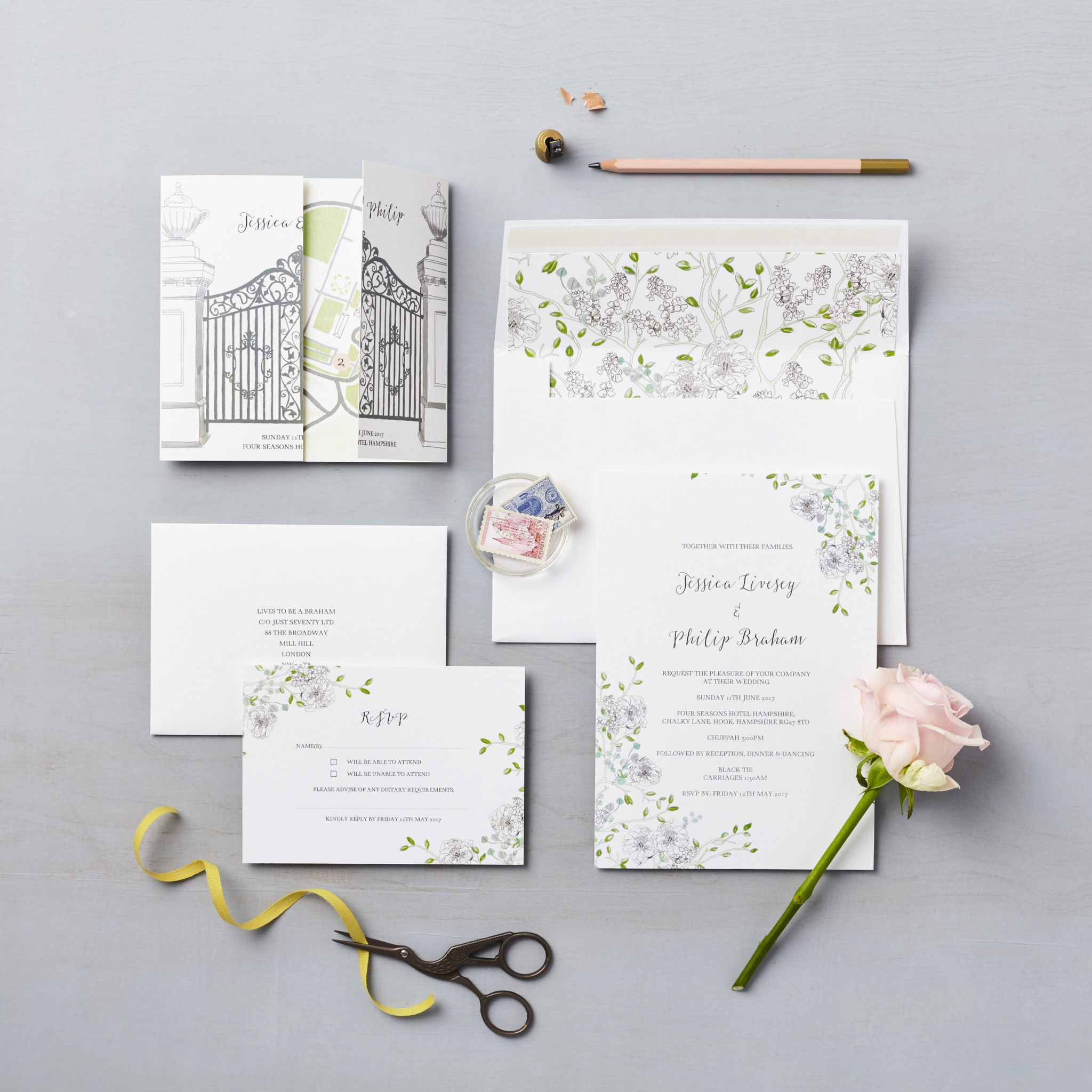 Hampshire wedding Four Seasons Bespoke floral wedding invitation ...