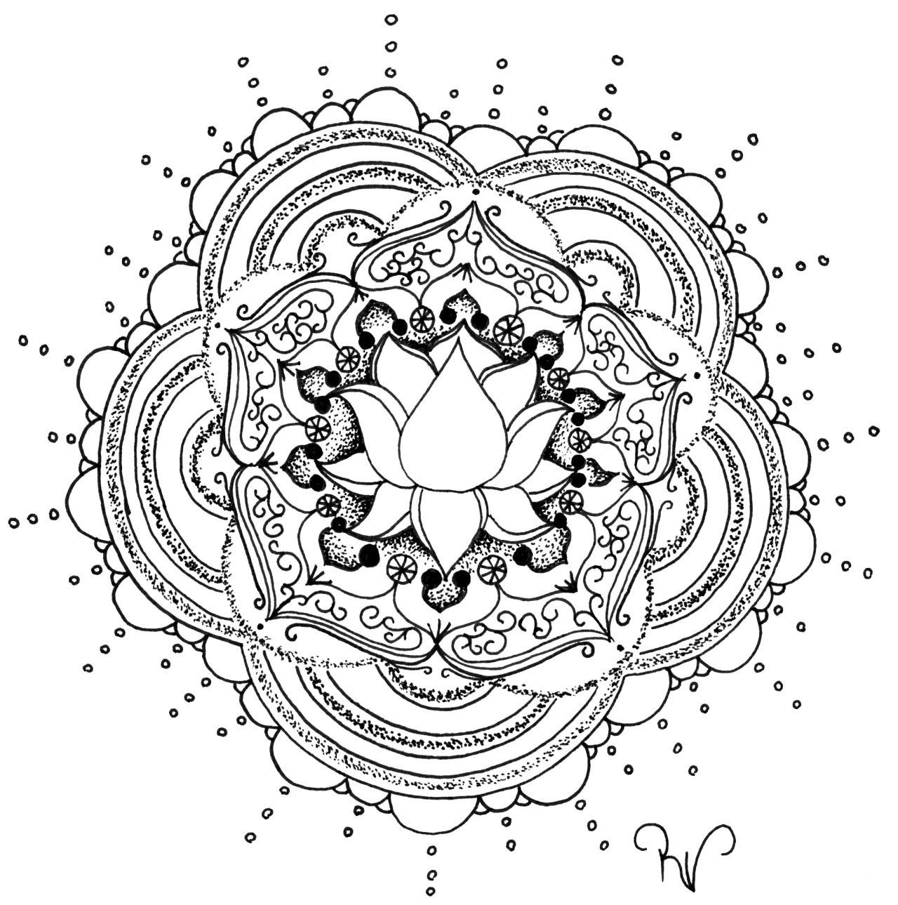 lotus flower mandala abstract doodle zentangle coloring pages