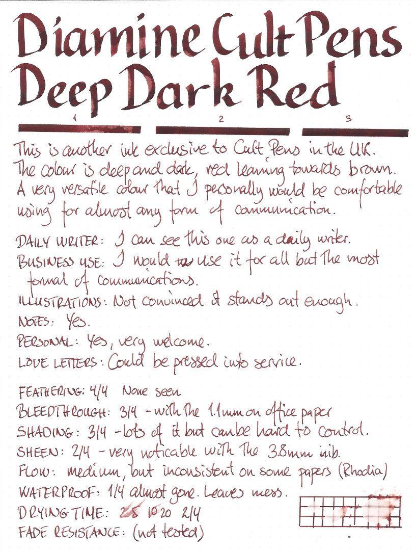 diamine cult pens deep dark red ink samples ink dark red red