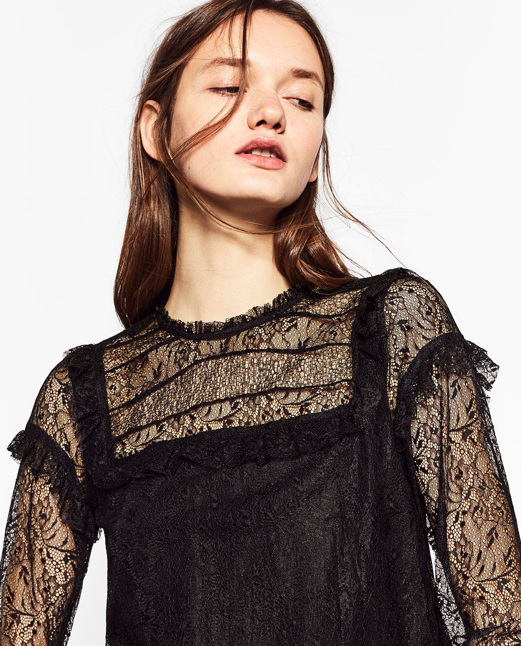 Contrast lace dress zara  CONTRAST LACE TOP  Style in   Pinterest  Lace tops Lace and Tops