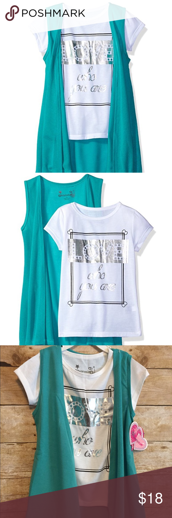 Dream Star Girls' Short Slv Screen Top/Duster Vest 2 Piece Set, Teal/ White Short Sleeve, FoilScreen Print on Tee. Size 4.         Brand:  Dream Star                                         100% Polyester.                                               Machine Washable Dream Star Shirts & Tops