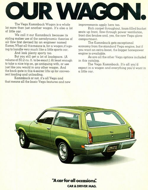 1972 Chevrolet Vega Wagon Chevrolet Vega Automobile Advertising