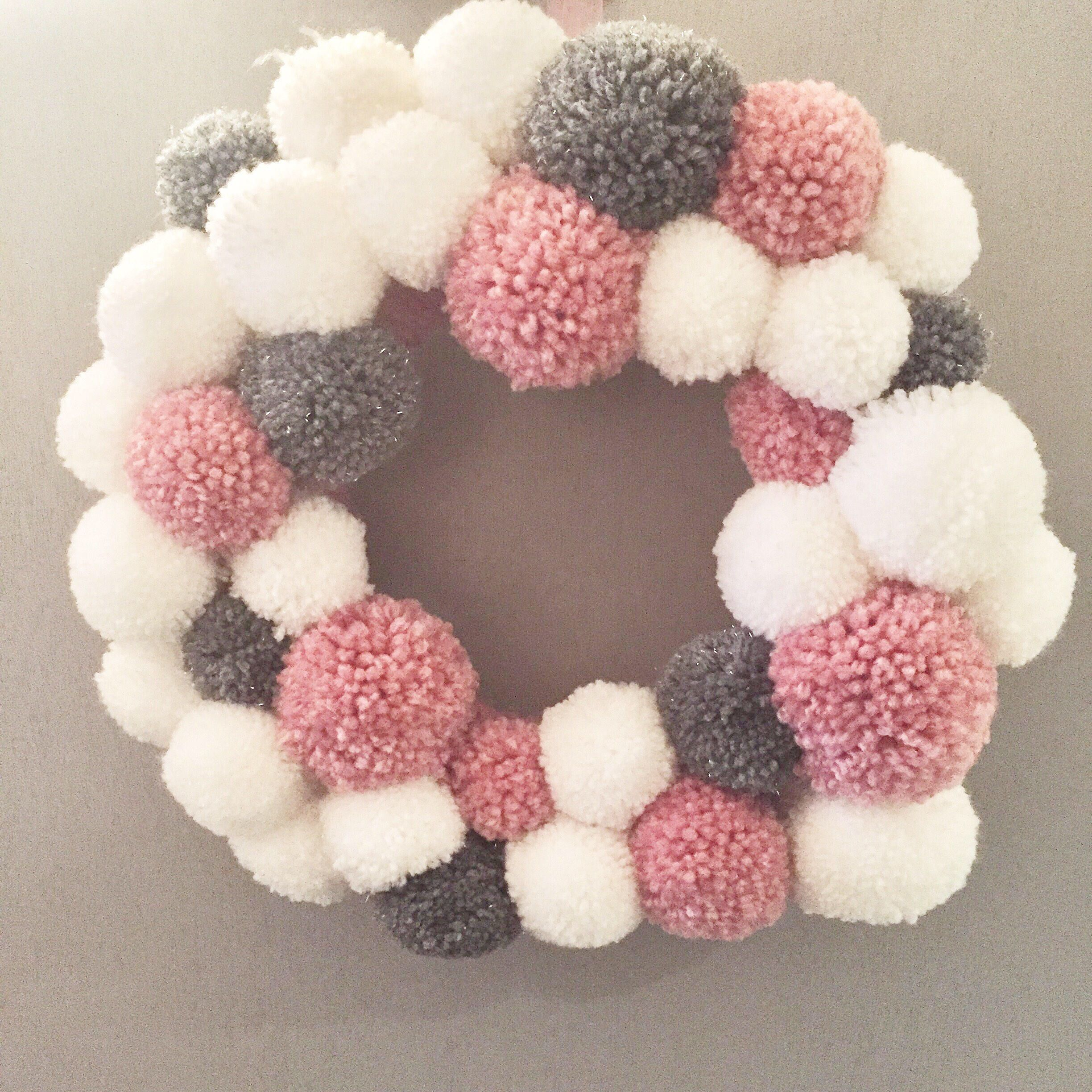 Pink, grey and white wool pom pom wreath - girls room, party, christmas, home decor images