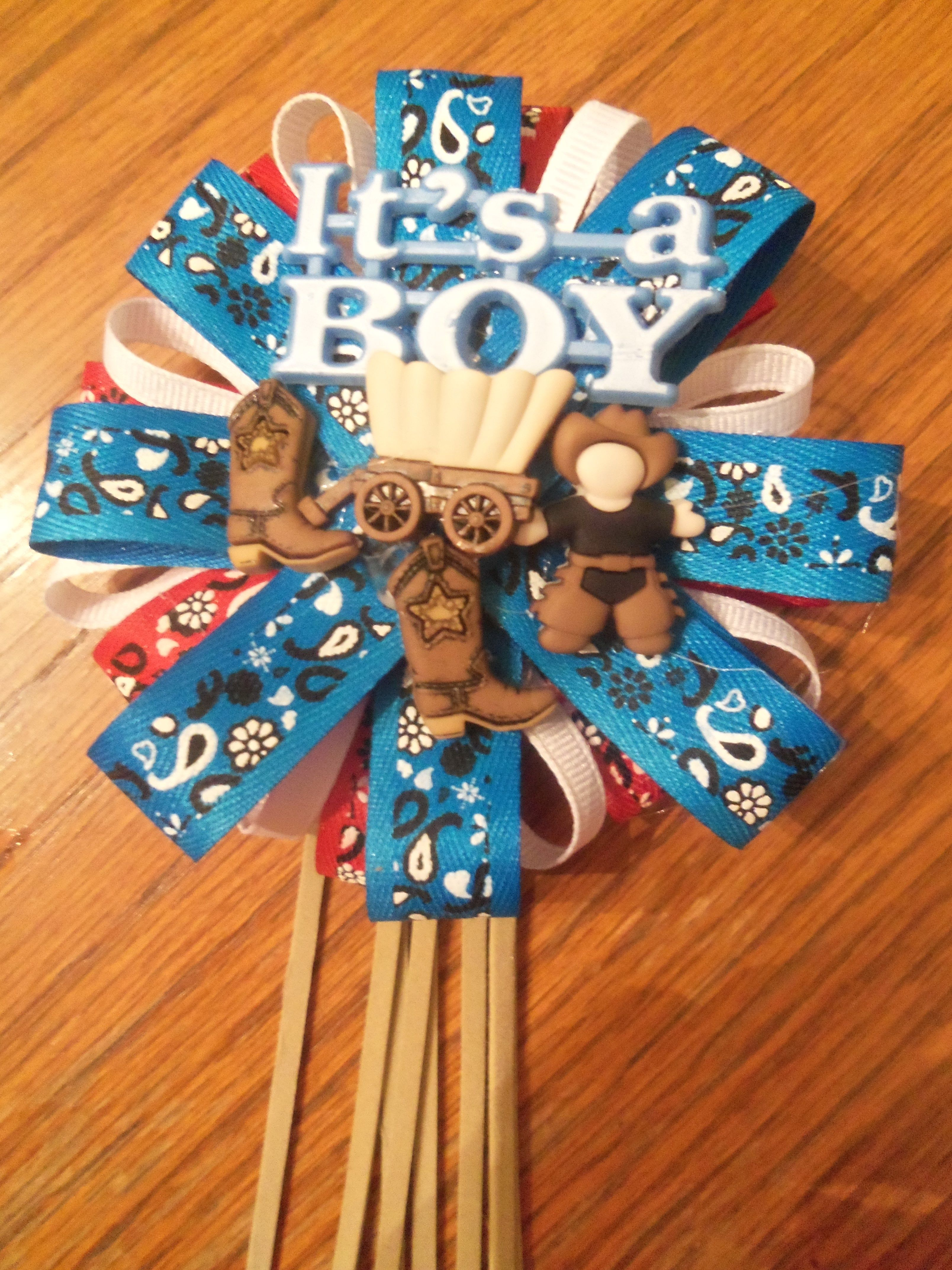 Cowboy Theme Baby Shower Corsage 10 Each
