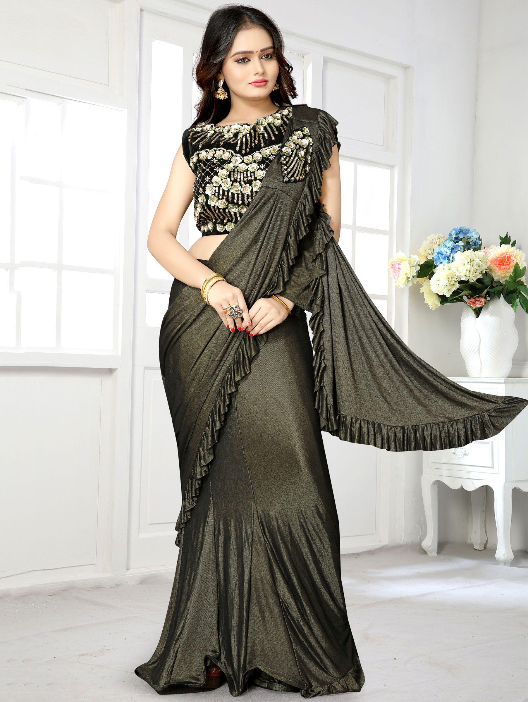 Dark Olive Green Lycra Pre Stitched Fancy Saree with