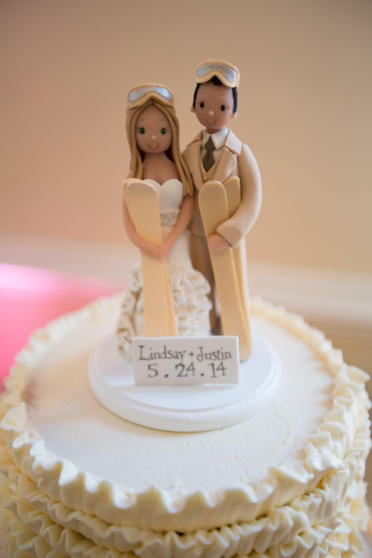 Ski Themed Cake Topper Wedding