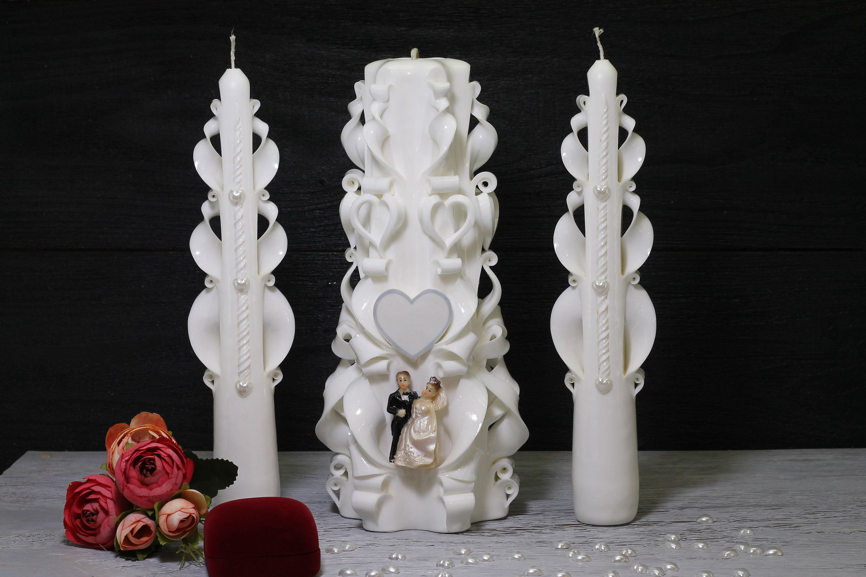 Unity Candle set for ceremony paraffin pillar and taper candles. Wedding carved candles set white classic.