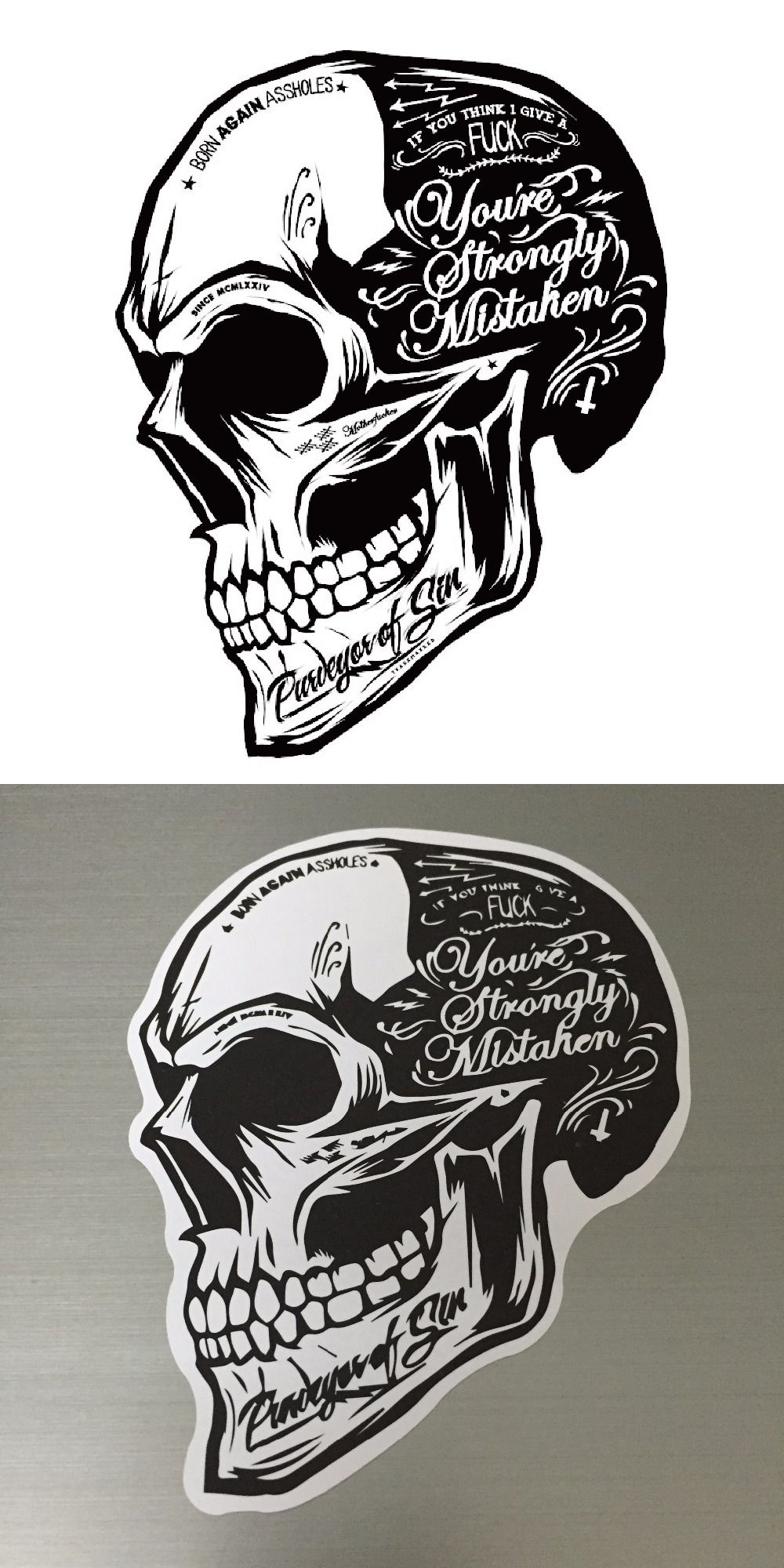 Black white skull cool motorcycle stickers motor decals helmet sticker on car styling on fuel tank window decoration for car