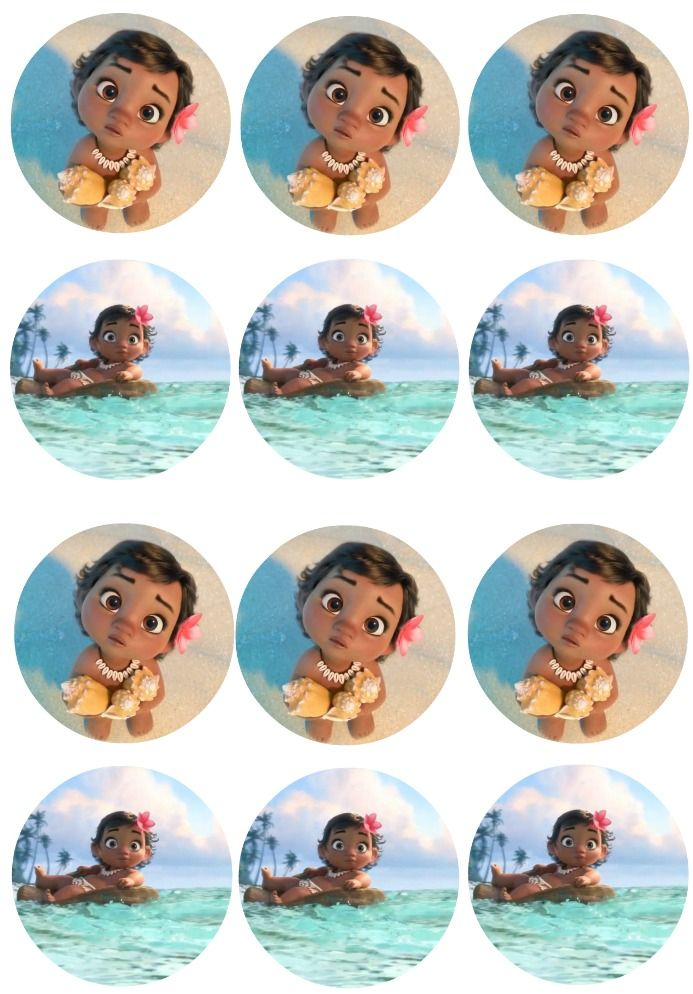 I Just Finished Creating Some Invitations For Disney S Newest Upcoming Movie Moana So Decided To Create Moana Cupcake Toppers Moana Cupcake Moana Themed Party