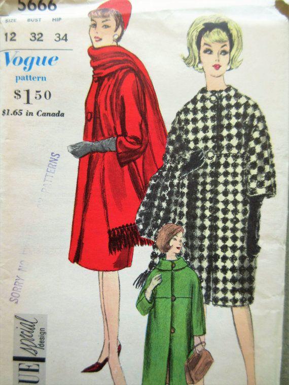 Vintage Vogue 5666 Sewing Pattern, 1960s Coat Pattern, Barrel Coat ...