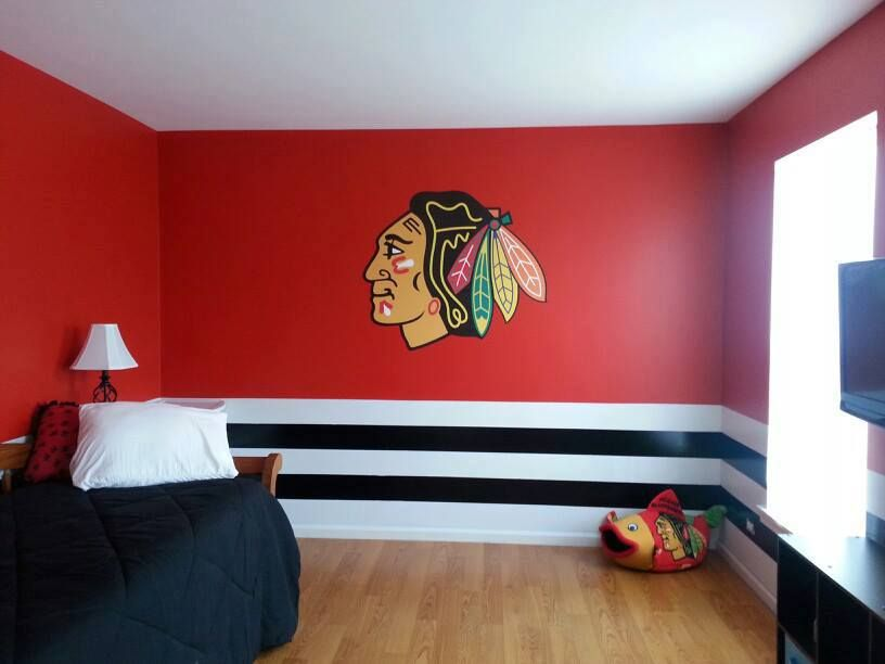 Chicago Blackhawks bedroom pulled together with a Fathead wall ...