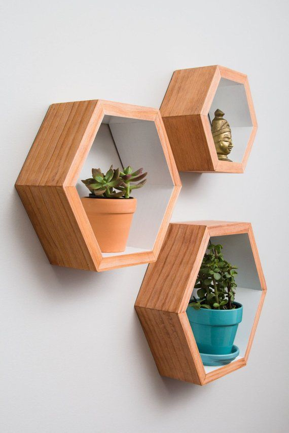 set of 3 hexagon shelves with white interior with images on easy diy woodworking projects to decor your home kinds of wooden planters id=45818