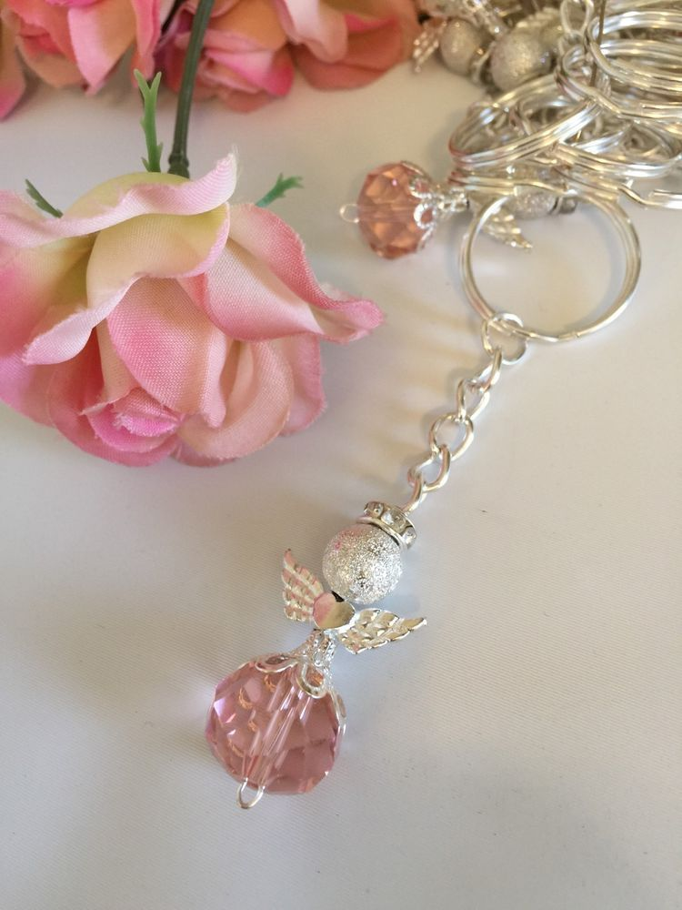 Bulk 50 Pink Angel With Wings Keychain Rosary Baptism