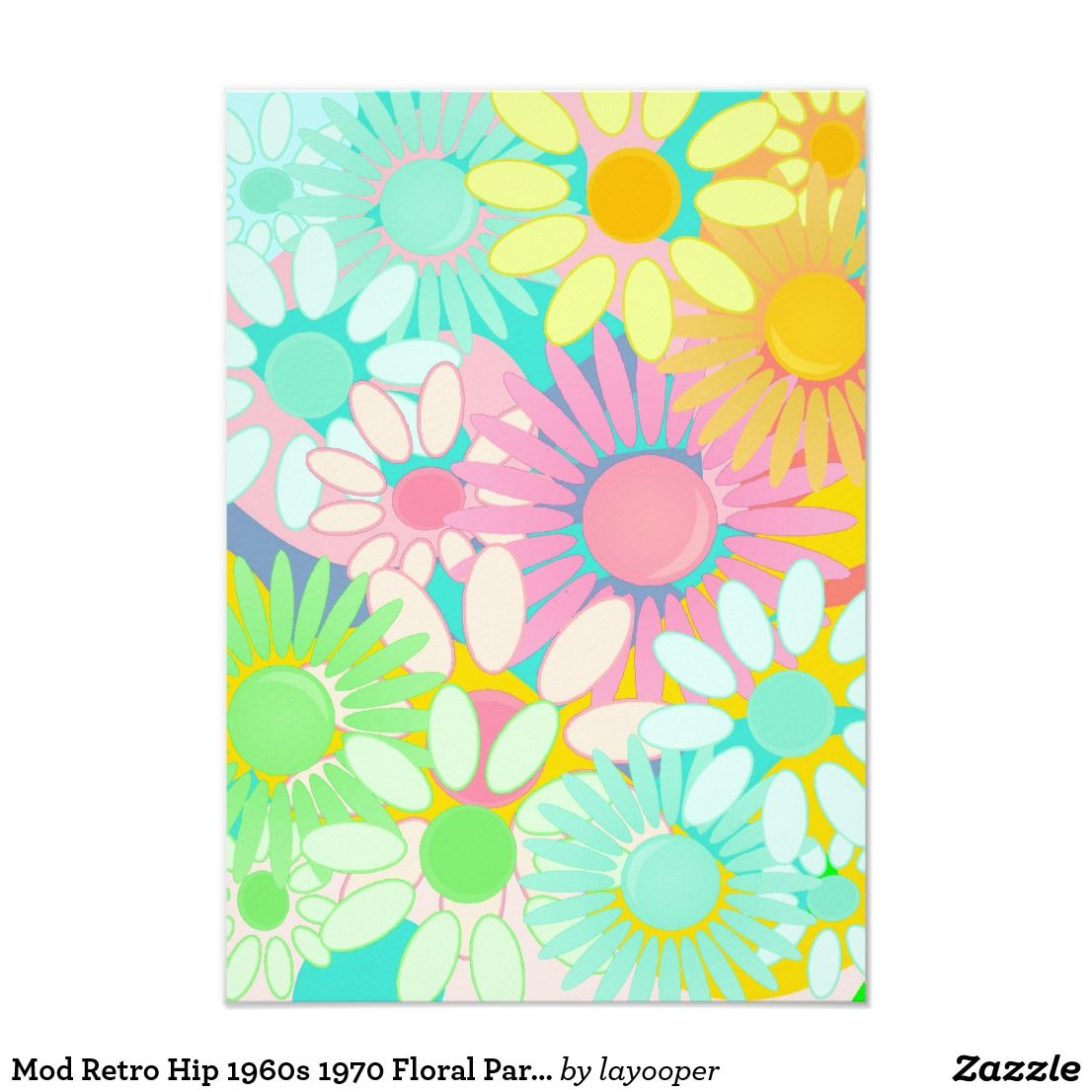 Mod Retro Hip 1960s 1970 Floral Party linvitations Card | Party ...