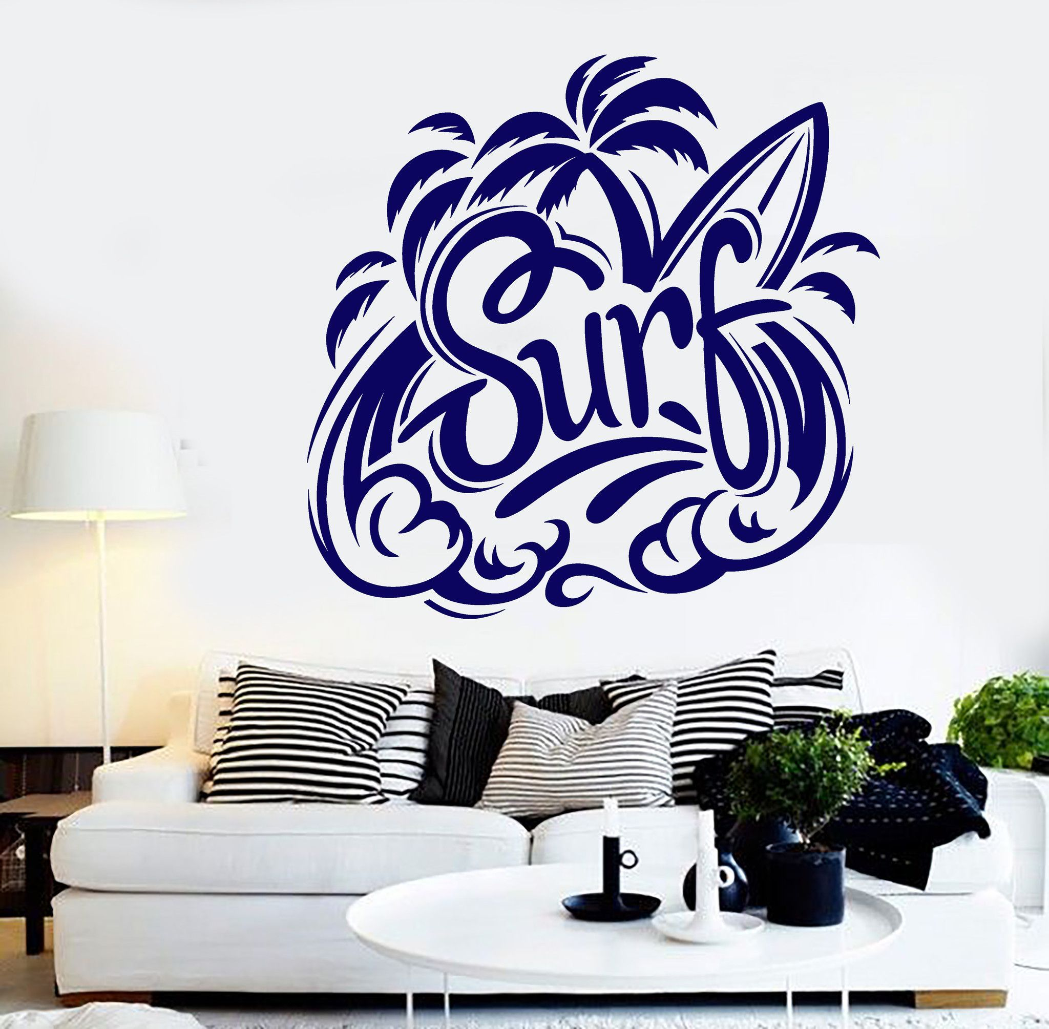 Vinyl Wall Decal Beach Style Surfing Surfer Water Sports