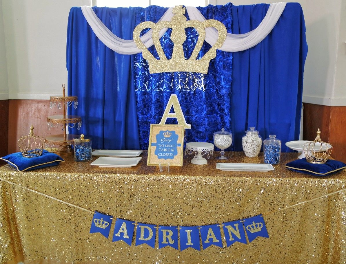 Crown Prince Royal Blue and Gold Birthday Banner Party Backdrop Decoration
