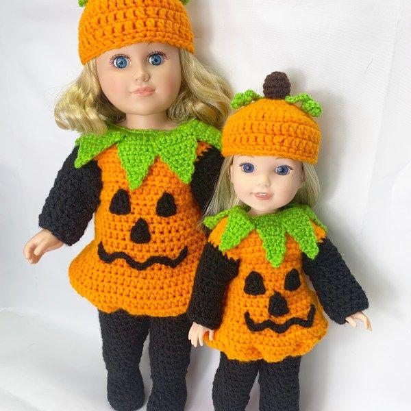 Photo of 14.5″ & 18″ Pumpkin Costume Crochet Pattern – Adoring Doll C…