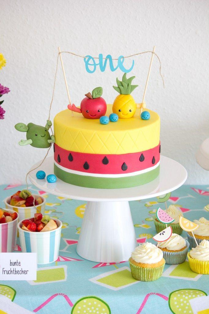 Diy Eine Tutti Frutti Torte Mit Lustigen Fruchten Als Caketopper