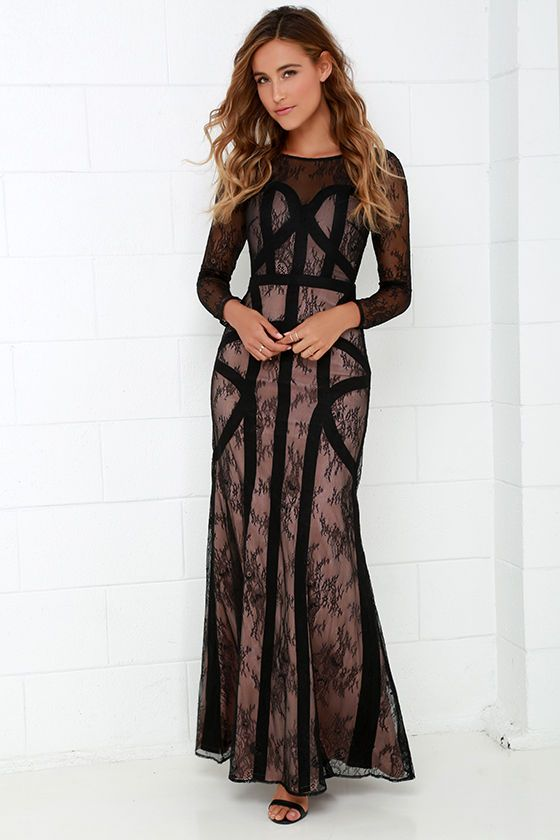 4bb4e6c8ff Bariano Right as Reign Beige and Black Lace Maxi Dress at Lulus.com!