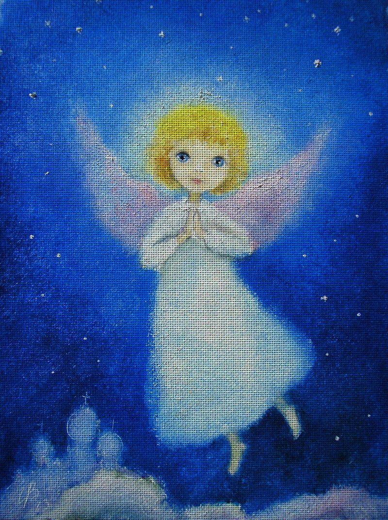 Needlepoint canvas 'Night Christmas Angel' by Irina Kapustina