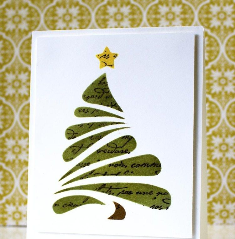 carte de vœux DIY pour Noël décorée d'un sapin de Noël vert et une