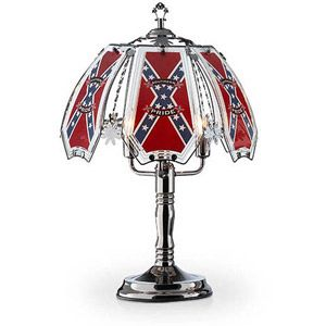 "Confederate Floor Lamps, OK Lighting 235""H Confederate Flag Theme Touch Lamp"