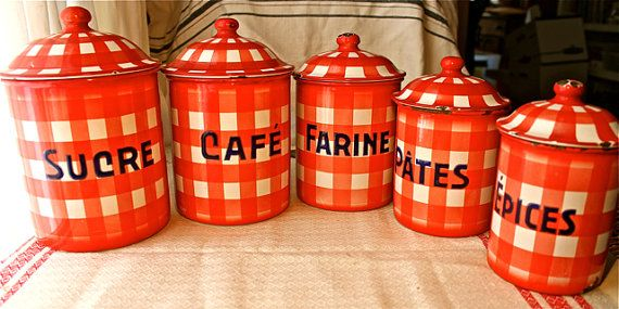 antique vintage French CANISTER SET red by BelleSouthMercantile, $110.00