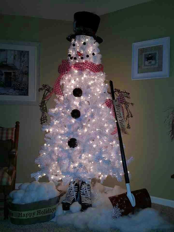 White Christmas Tree Snowman Christmas Tree Cute Christmas Tree Christmas Tree