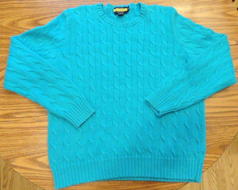 Womens Ralph Lauren sweater XL turquoise blue cable knit cotton crew neck #RalphLauren #Crewneck