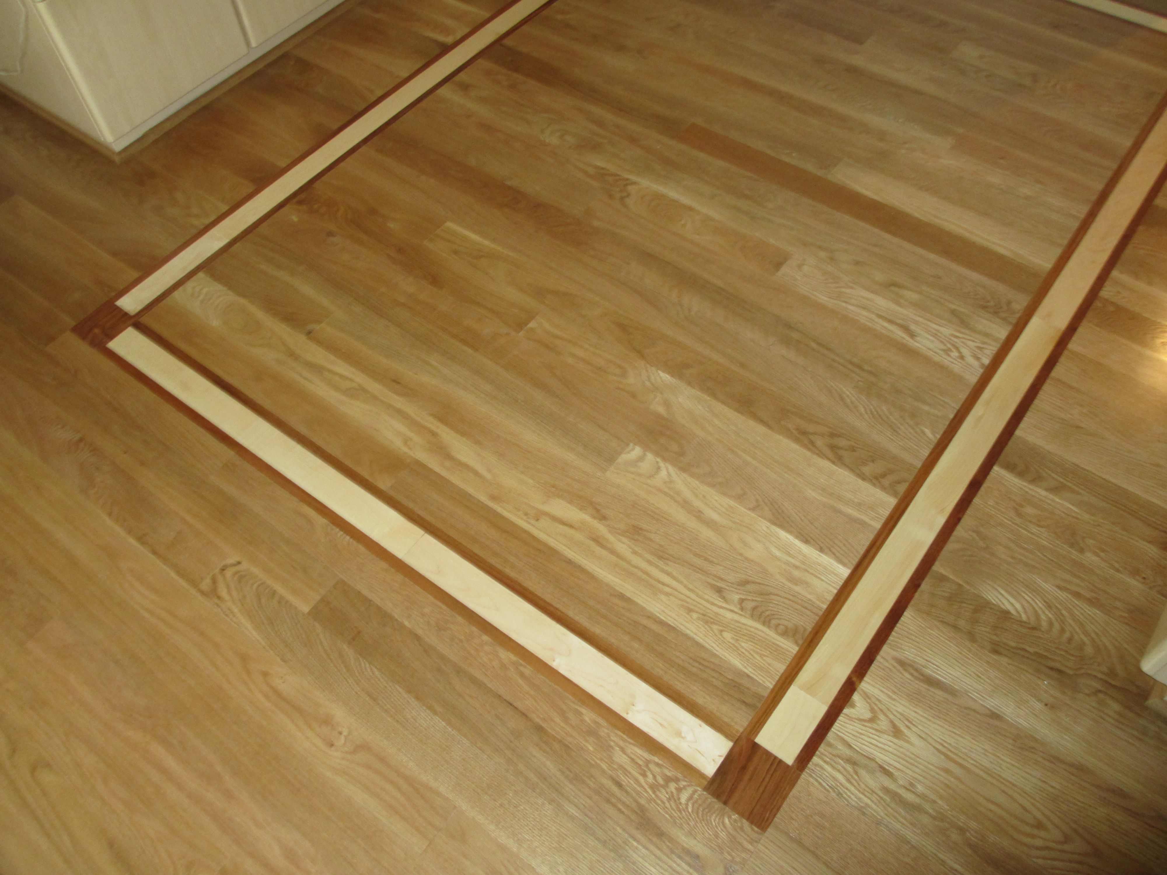 White oak flooring with brazilian cherry and maple inlay for Hardwood flooring portland