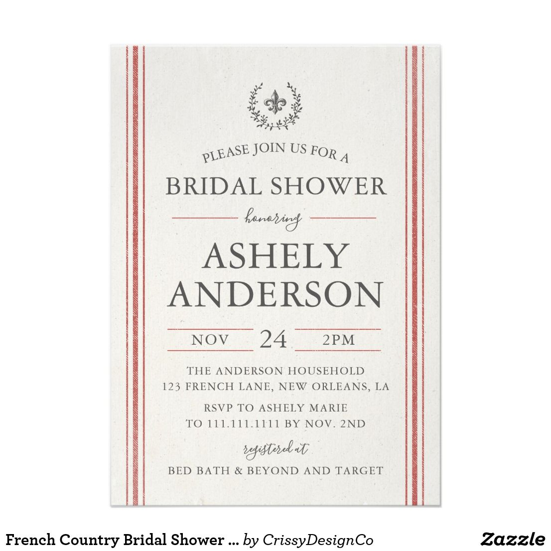 French country bridal shower invitation card bridal showers french country bridal shower invitation card stopboris Images